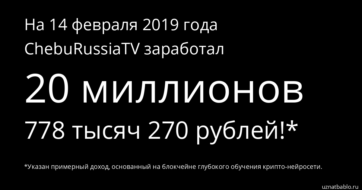 Сколько заработал ChebuRussiaTV на Youtube на 29 февраля 2020 года