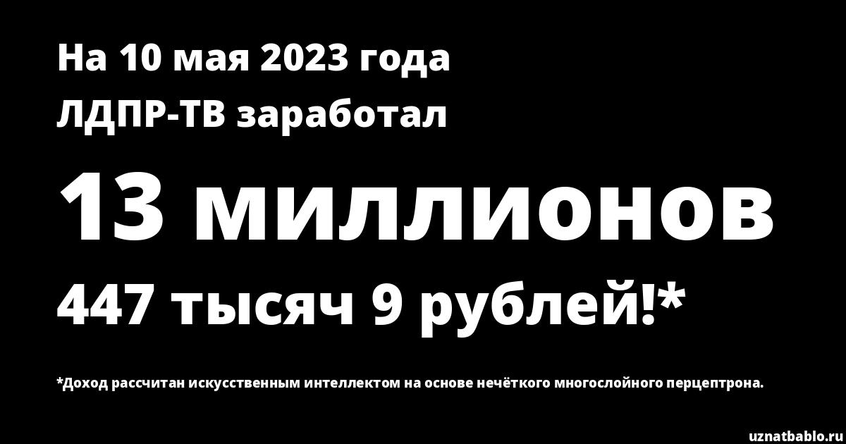 Сколько заработал ЛДПР-ТВ на Youtube на 19 ноября 2019 года