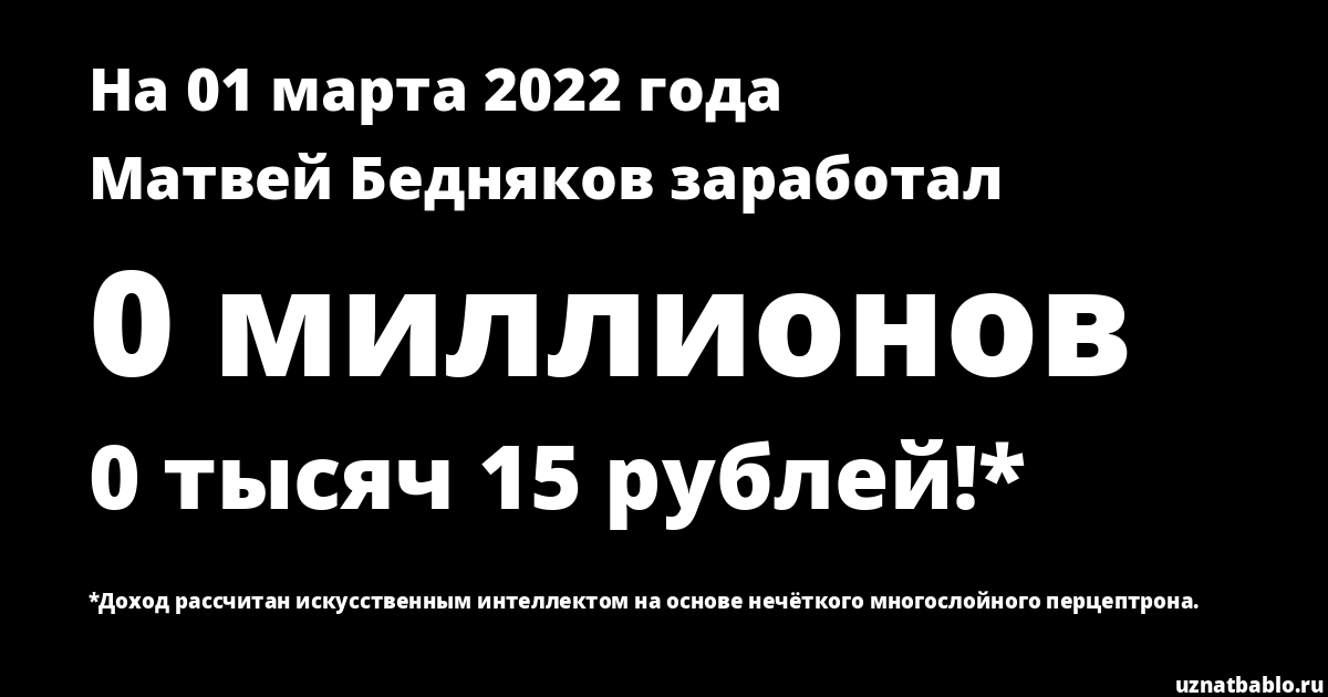 Сколько заработал Матвей Бедняков на Youtube на 26 апреля 2019 года
