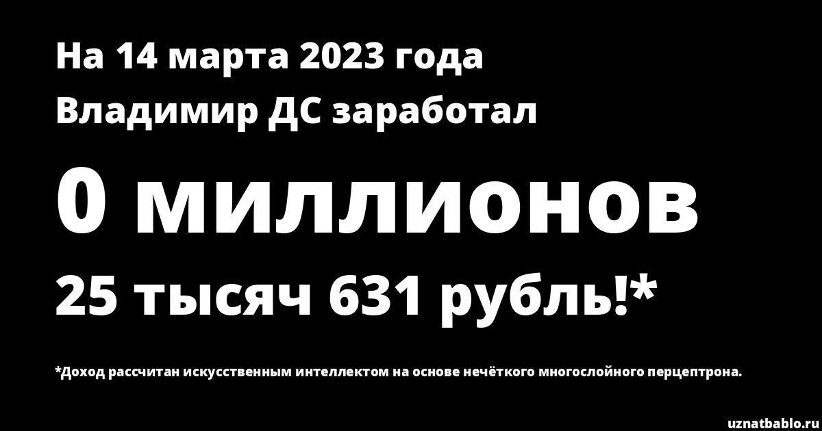 Сколько заработал Владимир ДС на Youtube на 18 декабря 2018 года