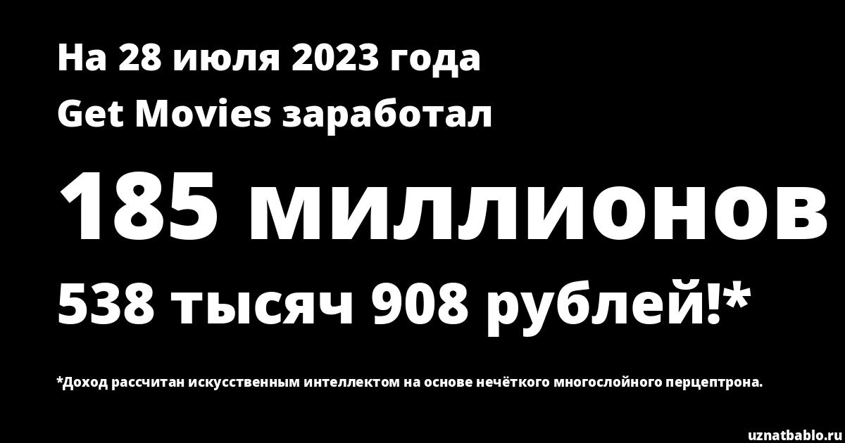 Сколько заработал Get Movies на Youtube на 25 января 2020 года