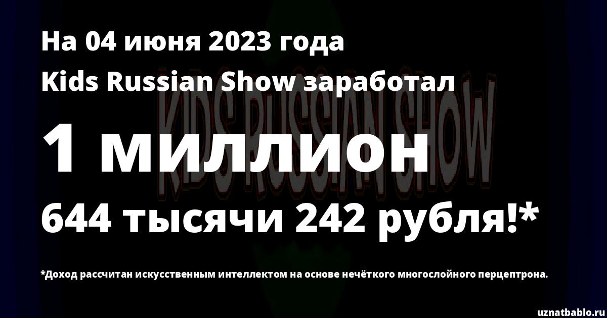 Сколько заработал VLOG Russian Show на Youtube на 24 марта 2019 года