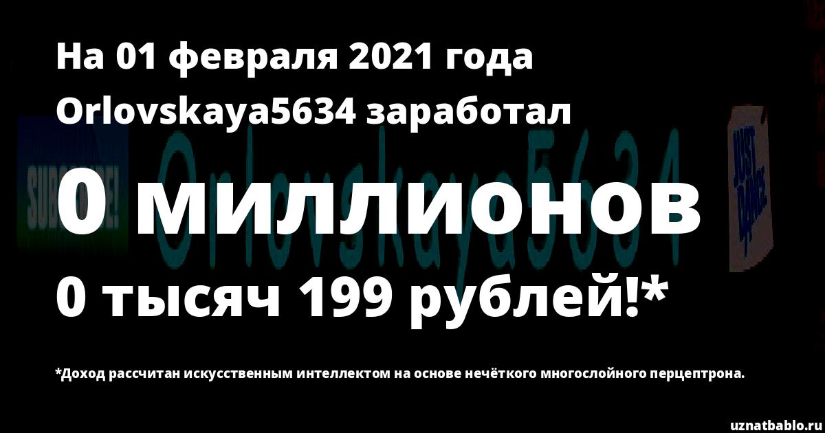 Сколько заработал Orlovskaya5634 на Youtube на 25 августа 2019 года