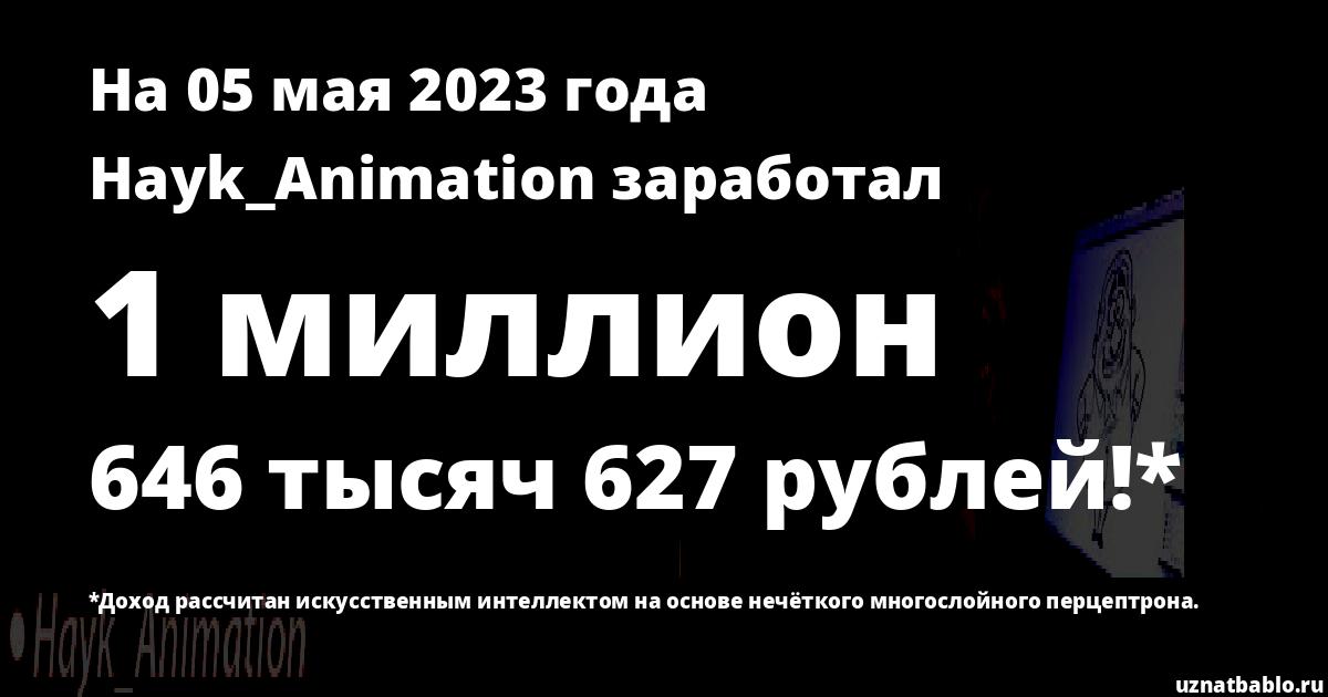 Сколько заработал Hayk_Animation на Youtube на 24 января 2020 года