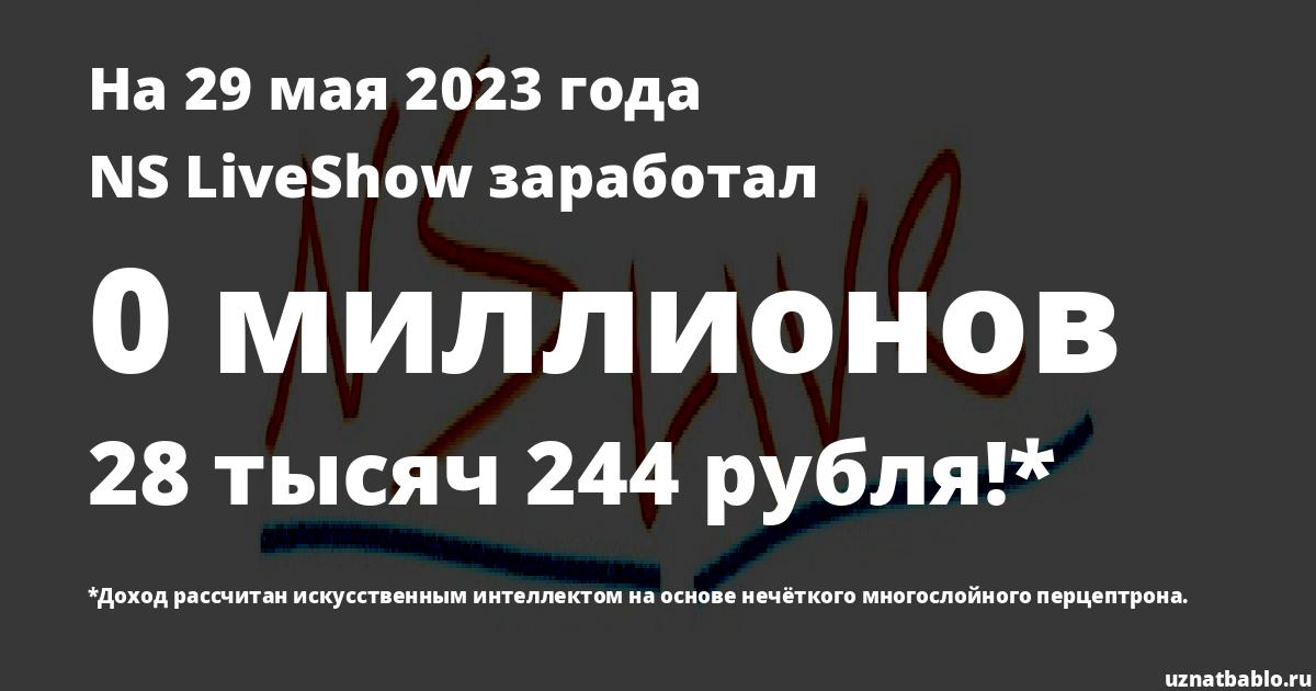 Сколько заработал NS LiveShow на Youtube на 24 июня 2019 года