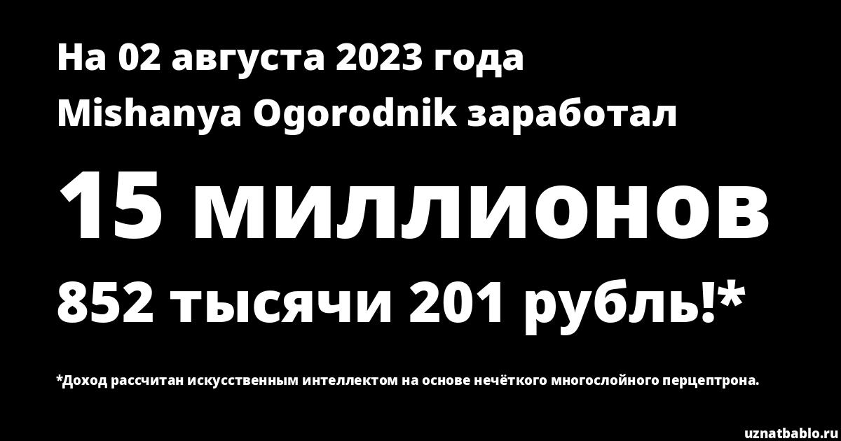 Сколько заработал Mishanya Ogorodnik на Youtube на 19 ноября 2019 года