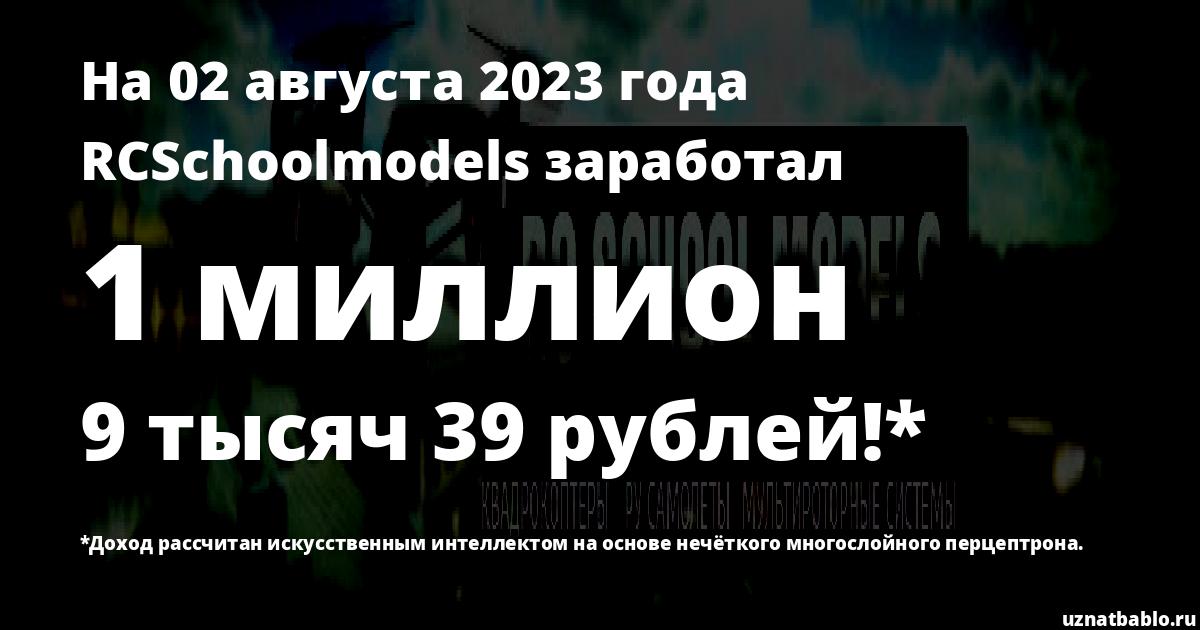 Сколько заработал RC School models на Youtube на 22 января 2020 года