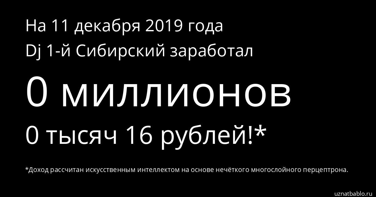 Сколько заработал Dj 1-й Сибирский на Youtube на 20 октября 2019 года