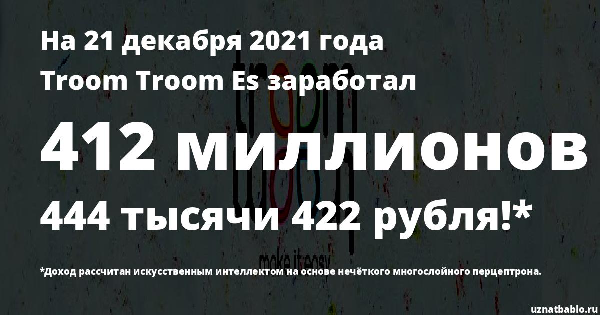 Сколько заработал Troom Troom Es на Youtube на 24 марта 2019 года