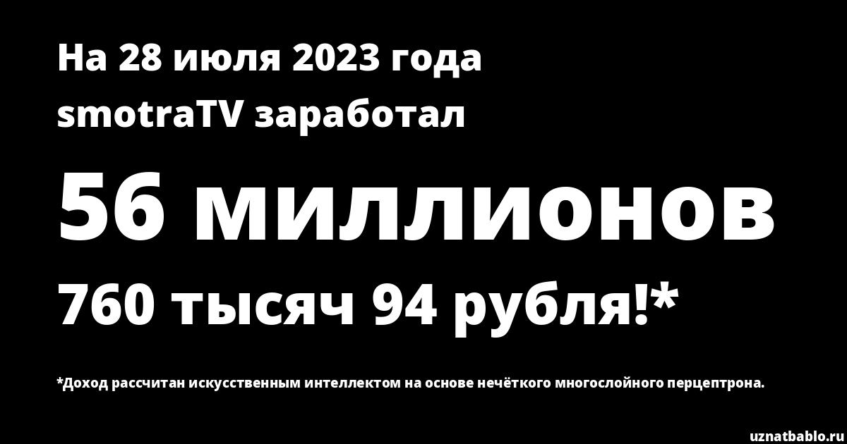 Сколько заработал smotraTV на Youtube на 26 апреля 2019 года