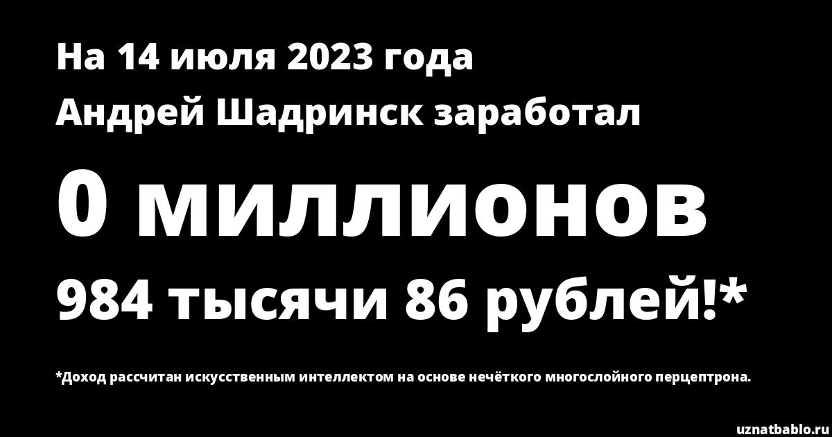 Сколько заработал Андрей Шадринск на Youtube на 21 августа 2019 года