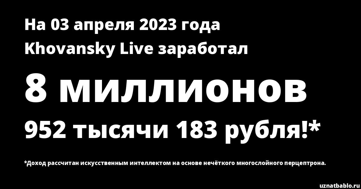 Сколько заработал Khovansky Live на Youtube на 26 апреля 2019 года