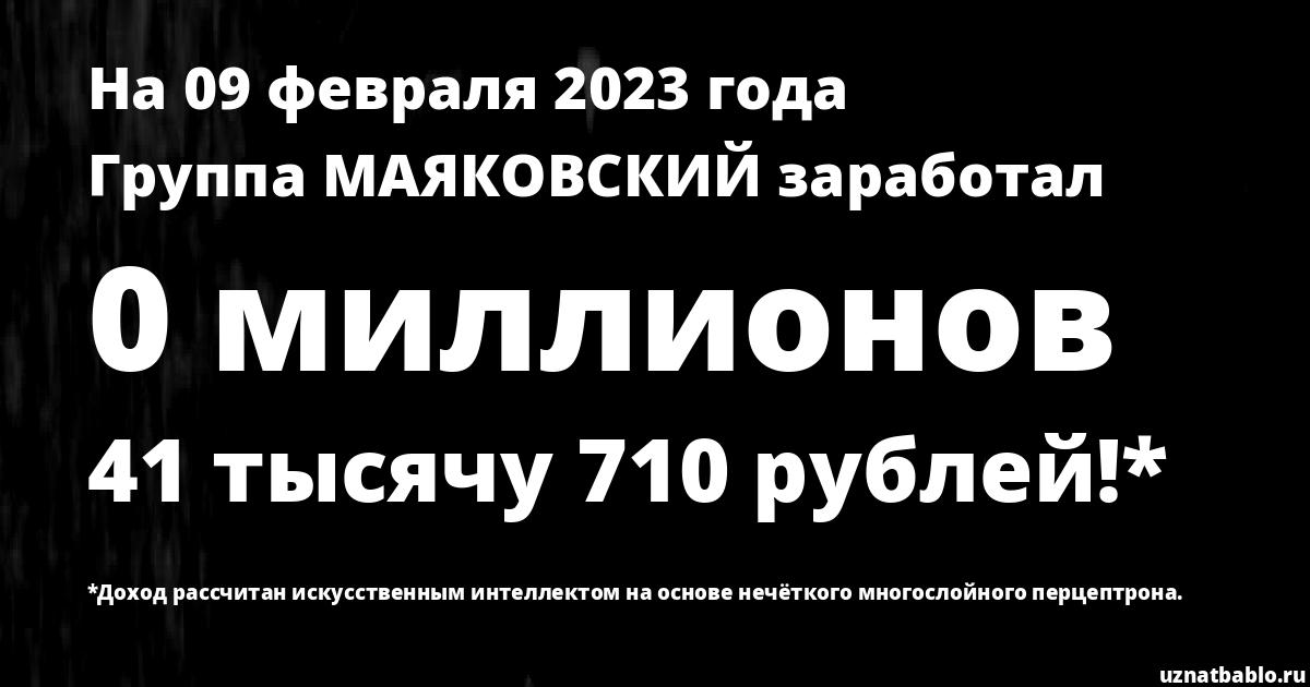 Сколько заработал Группа МАЯКОВСКИЙ на Youtube на 7 декабря 2019 года