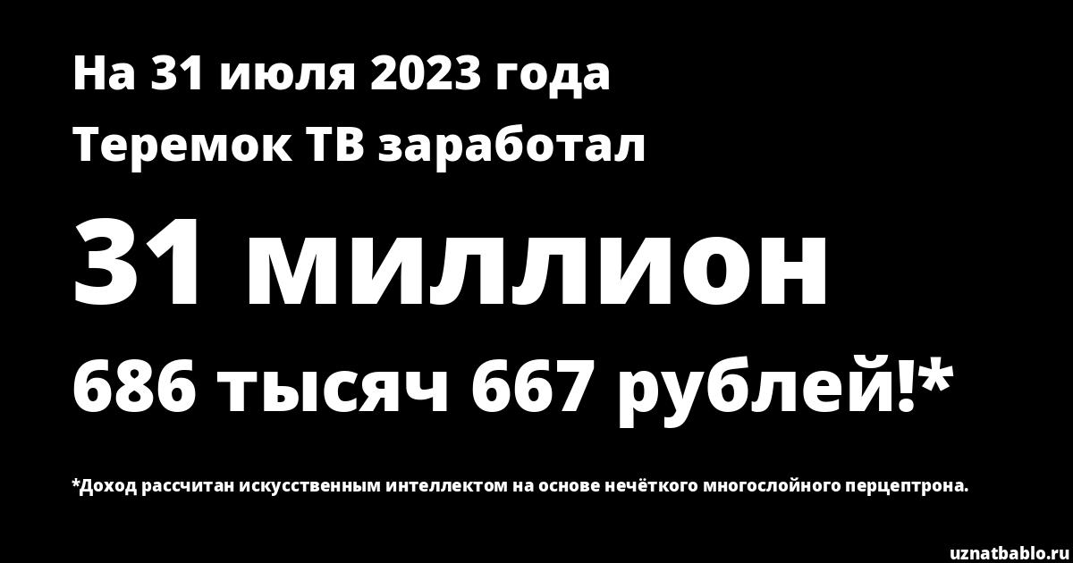 Сколько заработал Teremok TV на Youtube на 7 апреля 2020 года