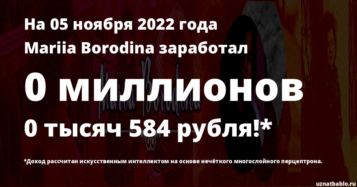 Сколько заработал Maria Borodina на Youtube на 22 октября 2019 года