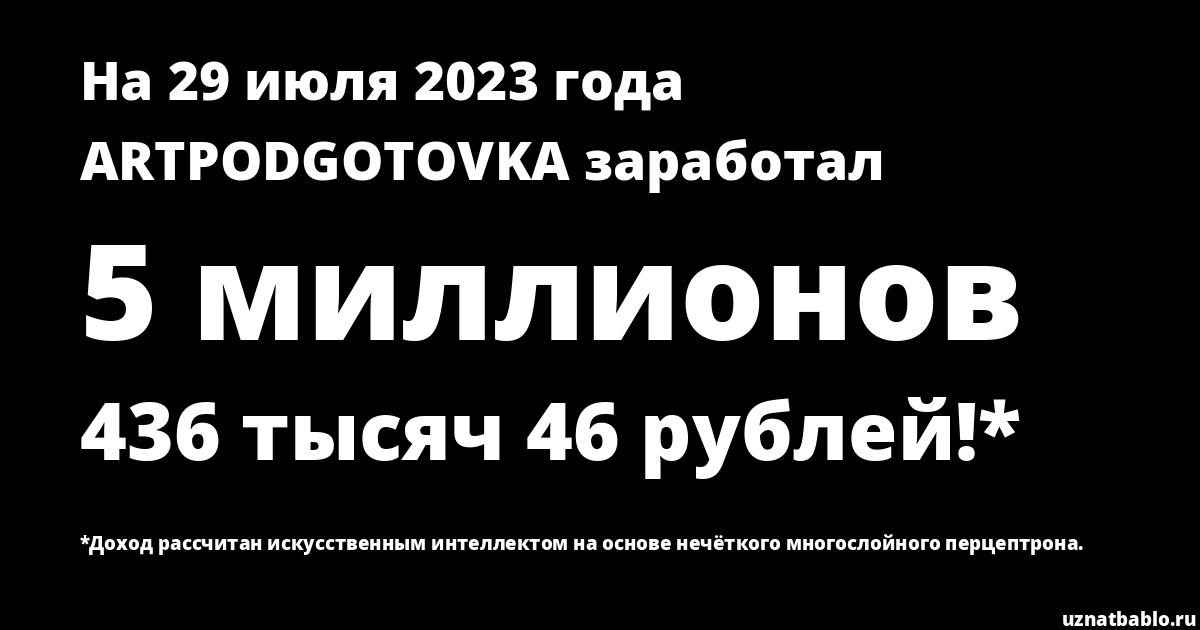 Сколько заработал ARTPODGOTOVKA на Youtube на 26 июня 2019 года