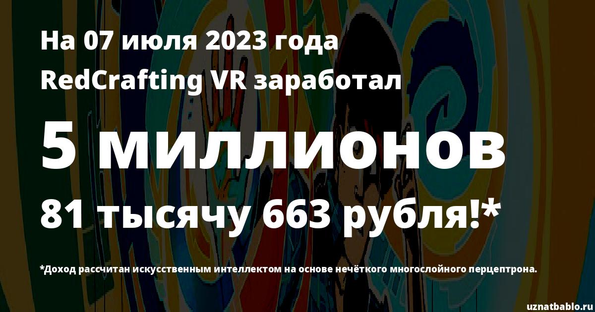 Сколько заработал RedCrafting VR на Youtube на 16 августа 2018 года