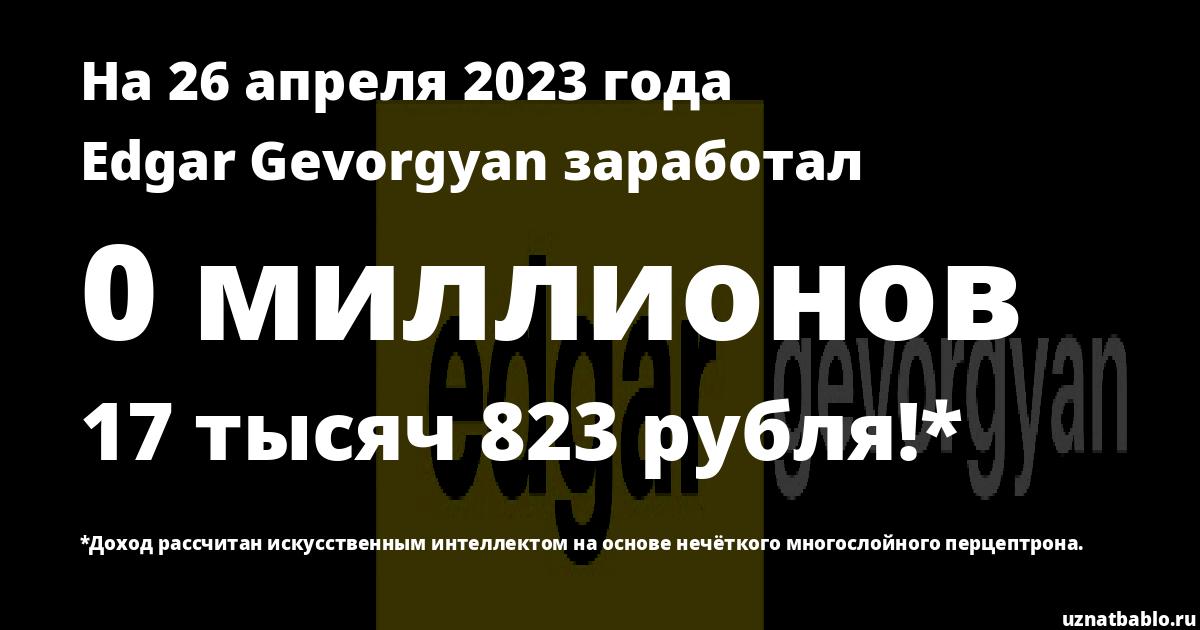 Сколько заработал Edgar Gevorgyan на Youtube на 16 августа 2018 года