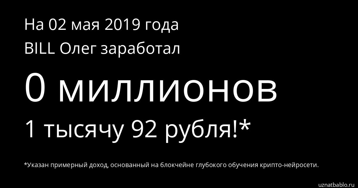 Сколько заработал BILL Олег на Youtube на 25 апреля 2019 года